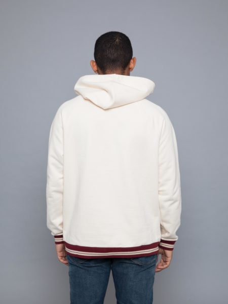 Drole de Monsieur 520 Hem Striped Hoodie Beige sale