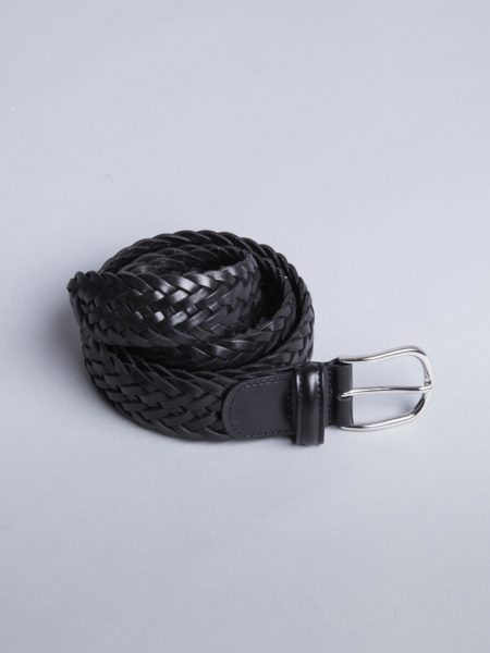 Andersons Woven Leather Belt Black