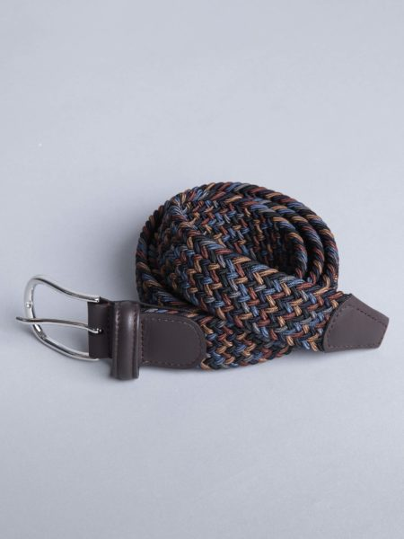 Andersons Woven Stretch Belt Brown Navy