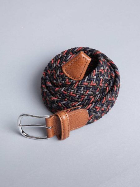 Andersons Woven Stretch Belt Red Navy grey