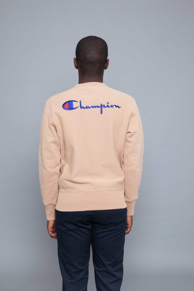 champion logo back sweatshirt beige centreville store. Black Bedroom Furniture Sets. Home Design Ideas