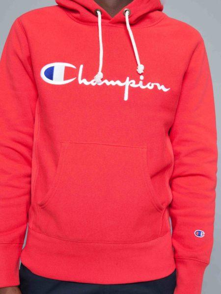 Champion Logo Hoodie Red