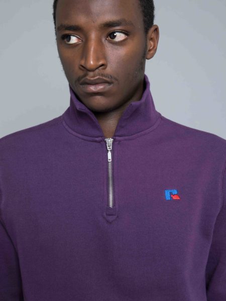 Russel Athletic Keith Zip Polo Sweat Navy Cosmos sale