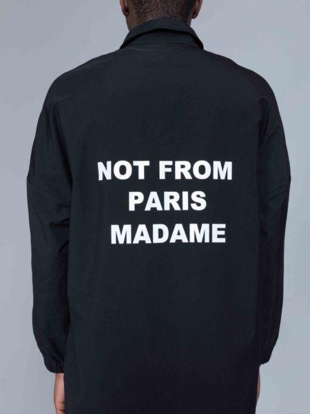 Drole de Monsieur NFPM Collared Long Raincoat Black