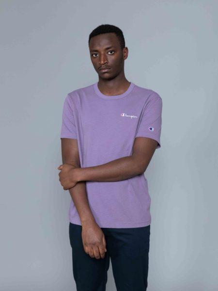 Champion Small Logo Tshirt Washed Purple crewneck