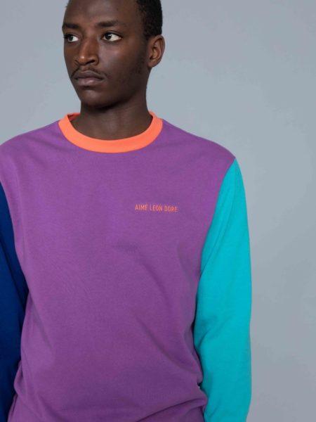 Aime Leon Dore Long Sleeve Colors Blocked Logo Purple new york