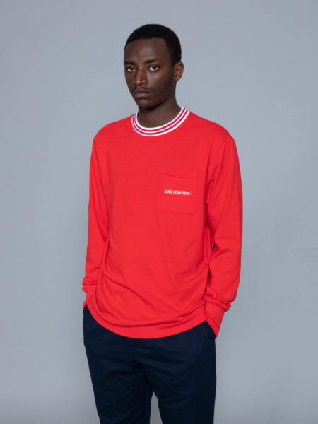 Aime Leon Dore Long Sleeve Ribbed Collar Red brussels