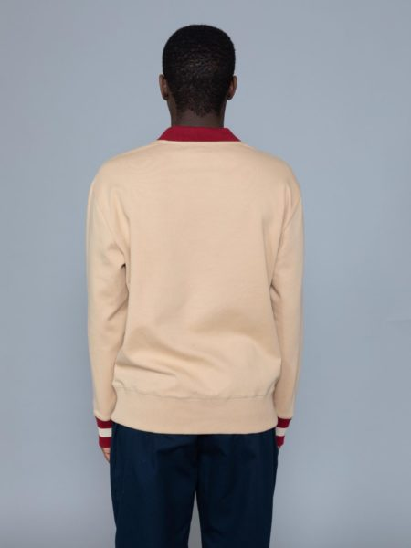 Drole de Monsieur Hem Striped Logo Sweat Beige paris