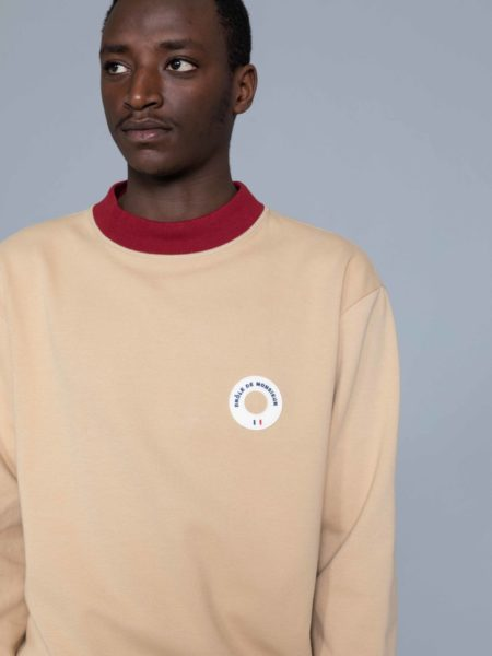 Drole de Monsieur Hem Striped Logo Sweat Beige sales