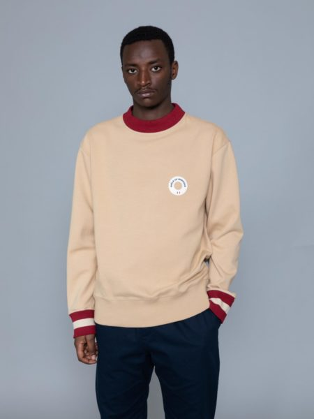 Drole de Monsieur Hem Striped Logo Sweat Beige shop