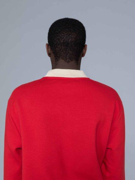 Drole de Monsieur Hem Striped Logo Sweat Red alkarus