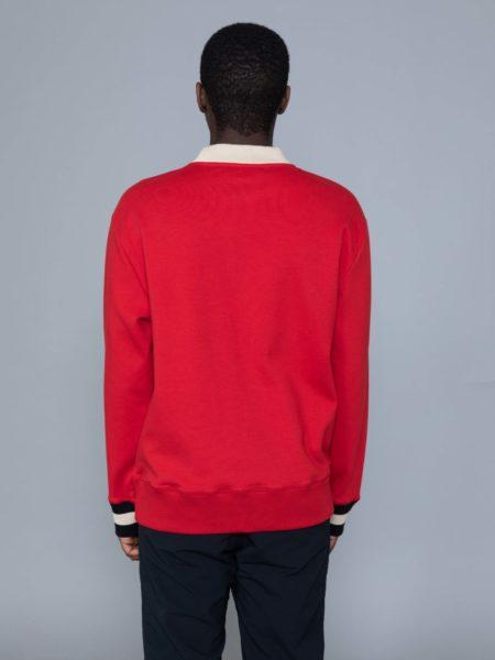 Drole de Monsieur Hem Striped Logo Sweat Red brussels