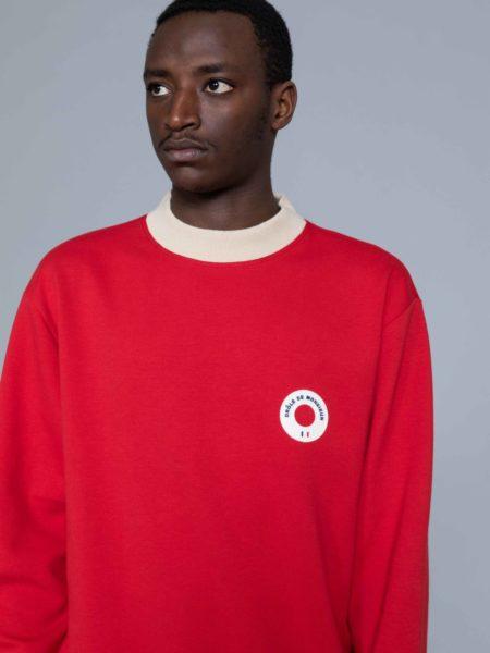 Drole de Monsieur Hem Striped Logo Sweat Red online store