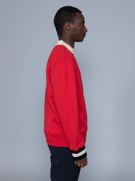 Drole de Monsieur Hem Striped Logo Sweat Red sale