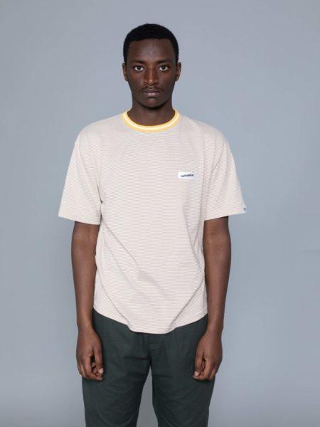 Nanamica Stripe Tshirt Mustard brand clothing