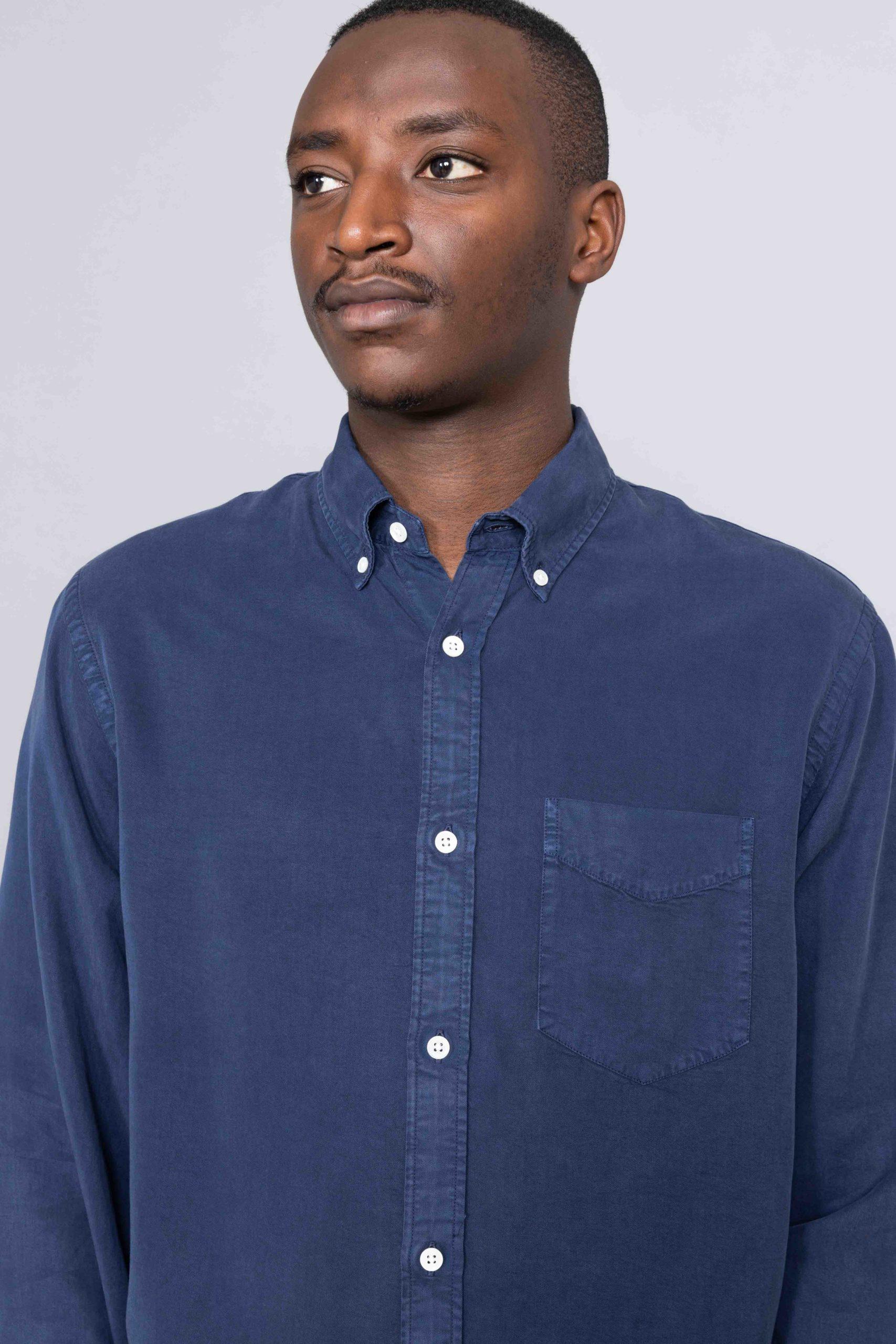 Tencel Levon Shirt Navy Blue